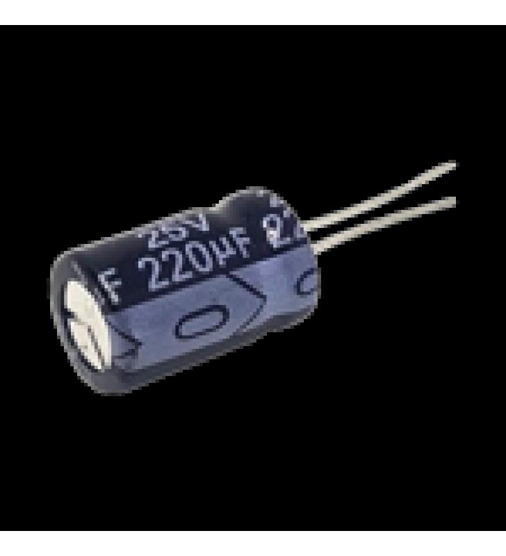 CAPACITOR ELECTROLITICO RADIAL DE ALUMINIO DE 220 ?FD A 25 VCD.