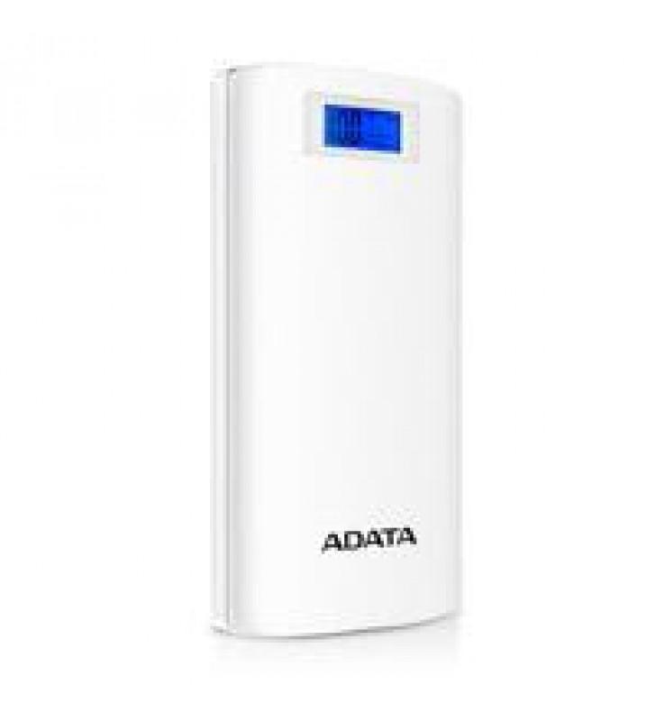 BATERIA DE RESPALDO POWER BANK ADATA P20000D 20000MAH/LINTERNA/2 USB 1A/2A/INDICADOR DE CARGAN DIGIT