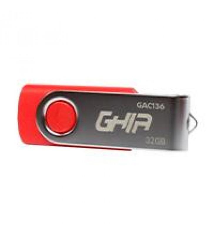 MEMORIA GHIA USB 32GB USB 2.0 COMPATIBLE CON ANDROID/WINDOWS/MAC. COLOR ROJO/AZUL/NEGRO