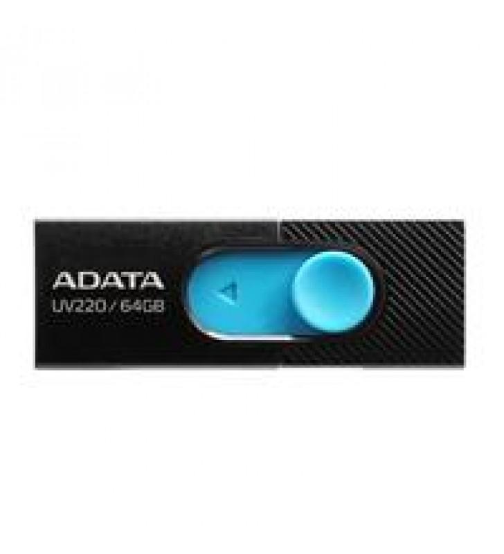 MEMORIA ADATA 64GB USB 2.0 UV220 RETRACTIL NEGRO-AZUL