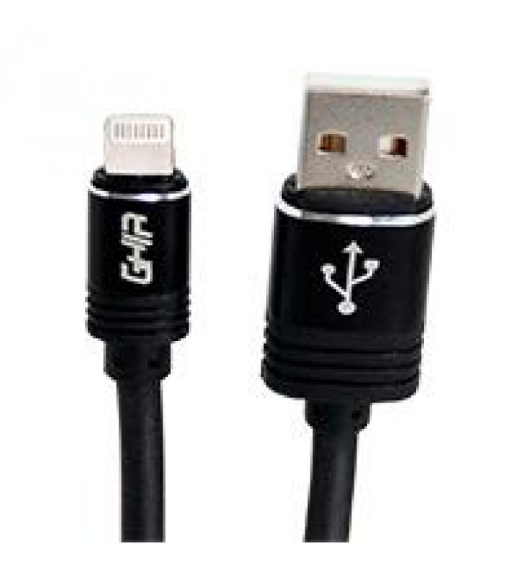 CABLE GHIA TIPO LIGHTNING 2.0 MTS USB 2.1 COLOR NEGRO