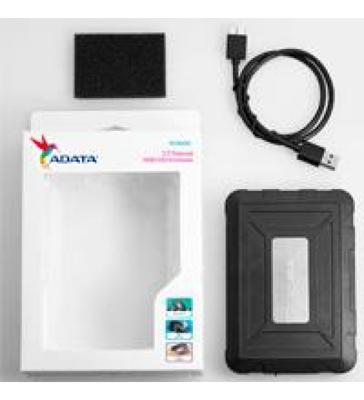 CARCASA ADATA ED600 PARA DISCOS DUROS/SSD 2.5 PULGADAS 7MM/9.5MM SATA3/USB3.2 NEGRO RESISTENTE A GOL