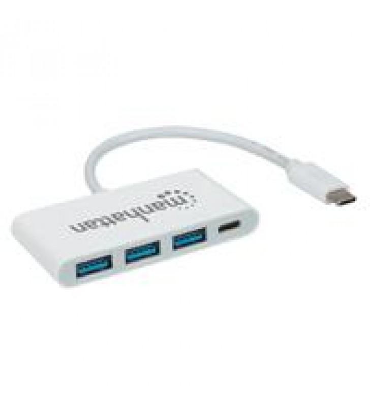 HUB MANHATTAN USB-C 3 PTOS AH SIN FUENTE + 1 PTO CH DE ENERGIA