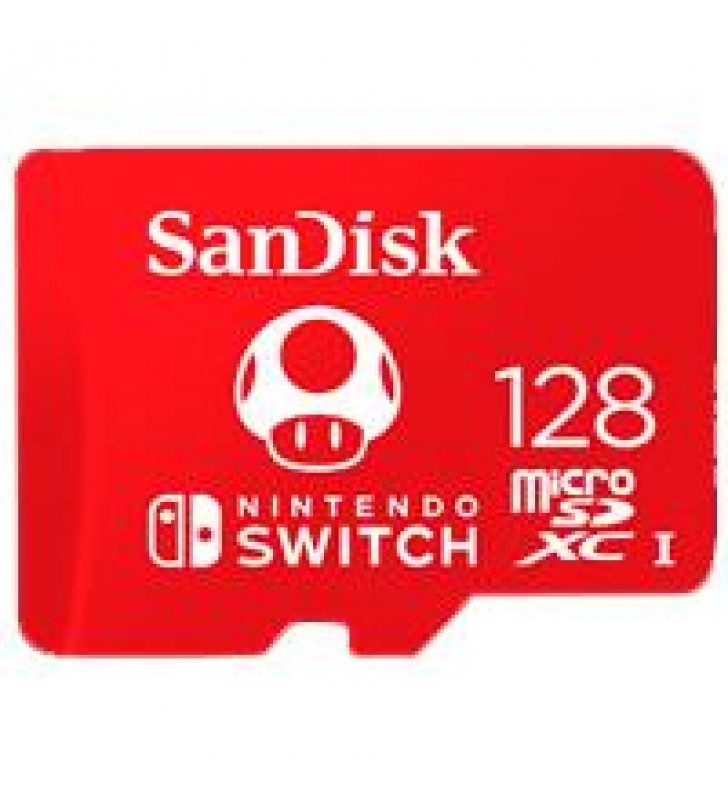 MEMORIA SANDISK 128GB MICRO SDXC NINTENDO SWITCH 100MB/S 4K FULL HD U3 V30