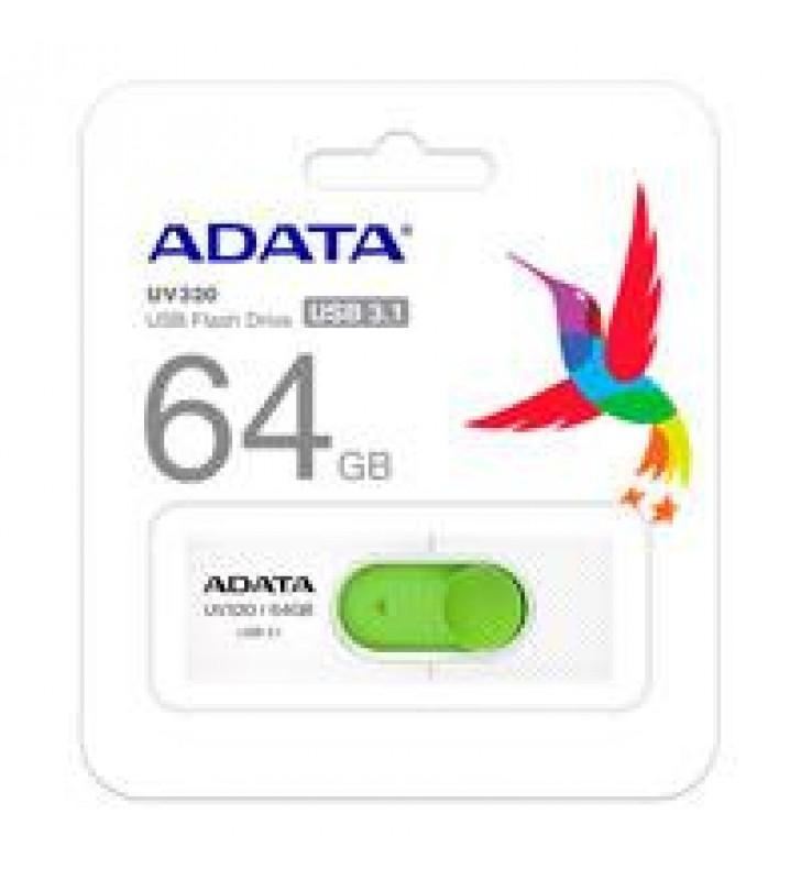 MEMORIA ADATA 64GB USB 3.2 UV320 RETRACTIL BLANCO-VERDE