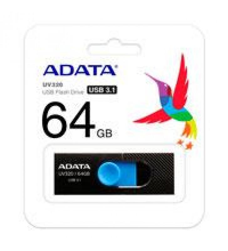 MEMORIA ADATA 64GB USB 3.2 UV320 RETRACTIL NEGRO-AZUL
