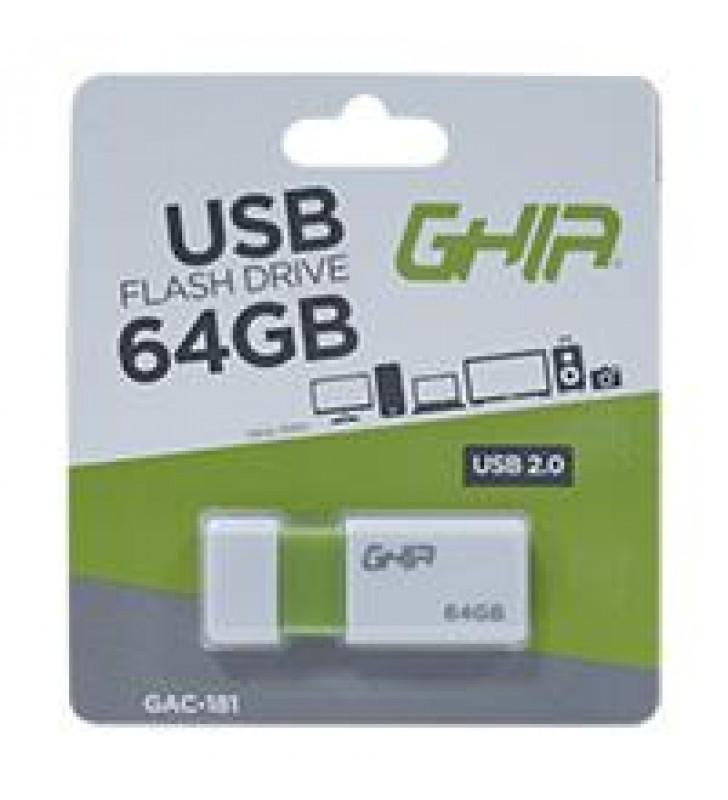 MEMORIA GHIA 64GB USB PLASTICA USB 2.0 COMPATIBLE CON ANDROID/WINDOWS/MAC
