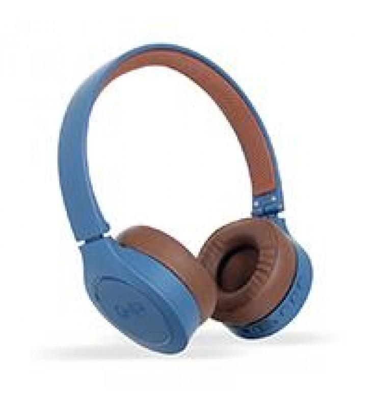 AUDIFONOS DIADEMA BLUETOOTH GHIA N2 HIFI SOUND AZUL/CAFE 10M ALCANCE BT 4.2 BATERIA 300MAH