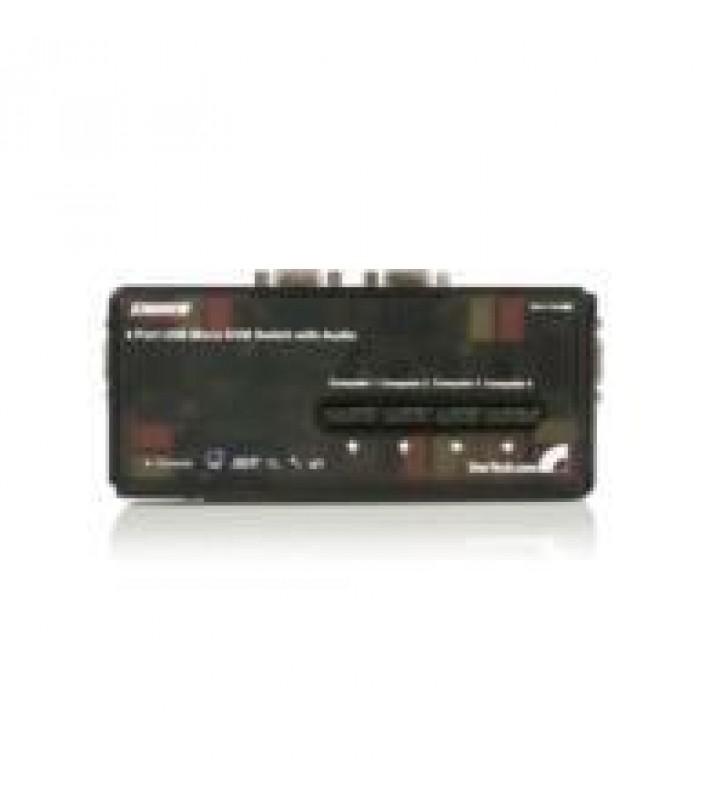 JUEGO DE CONMUTADOR SWITCH KVM 4 PUERTOS VIDEO VGA USB 2.0 CON CABLES Y AUDIO - 5X HD15 HEMBRA - 2X