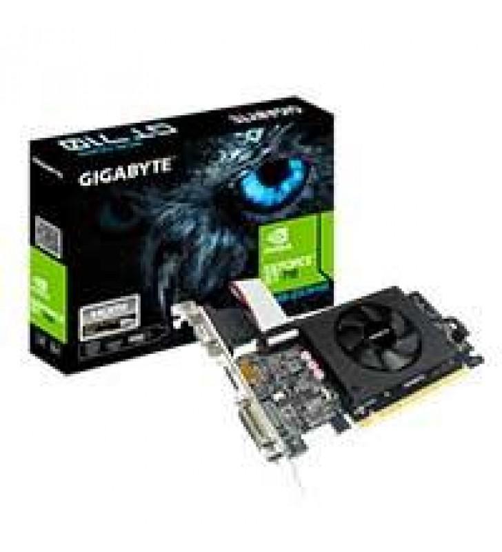 TARJETA DE VIDEO GIGABYTE NVIDIA GT710/ PCIE X8 2.0/2GB/DDR5/64BIT/D-SUB/DVI/HDMI/BAJO PERFIL/GAMA B