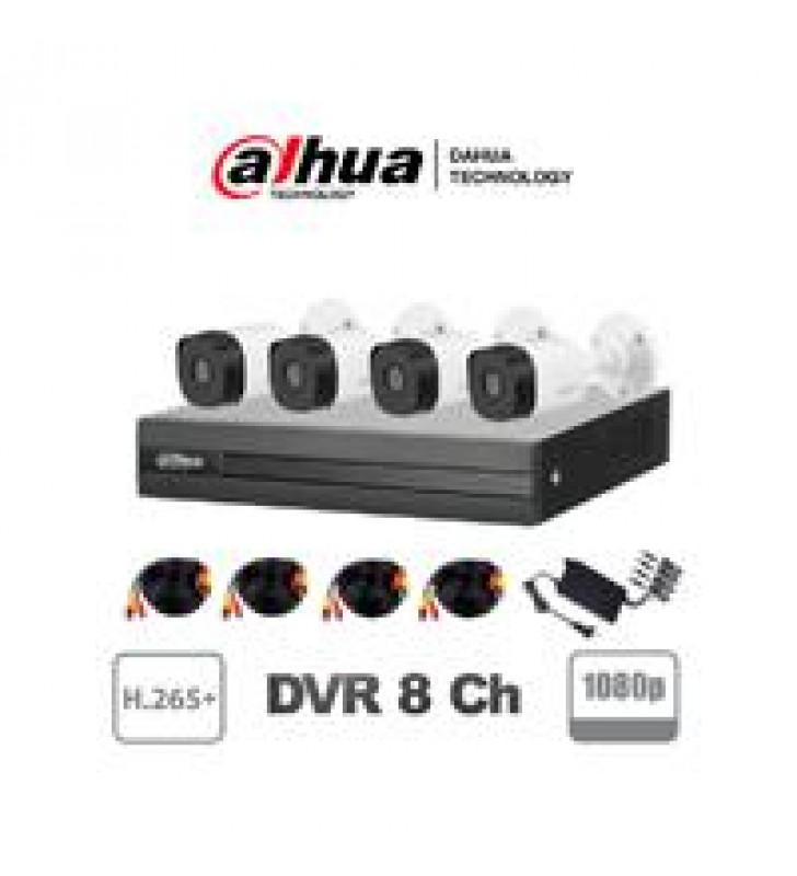 KIT DAHUE / 8 CANALES 2 MEGAPIXELES / 4 CAMARAS B1A21 1080P / DVR DE 8 CANALES 1080P LITE / H.265+ /