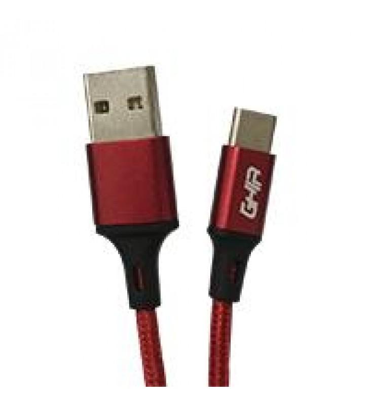 CABLE USB TIPO C GHIA NYLON COLOR ROJO DE 1M