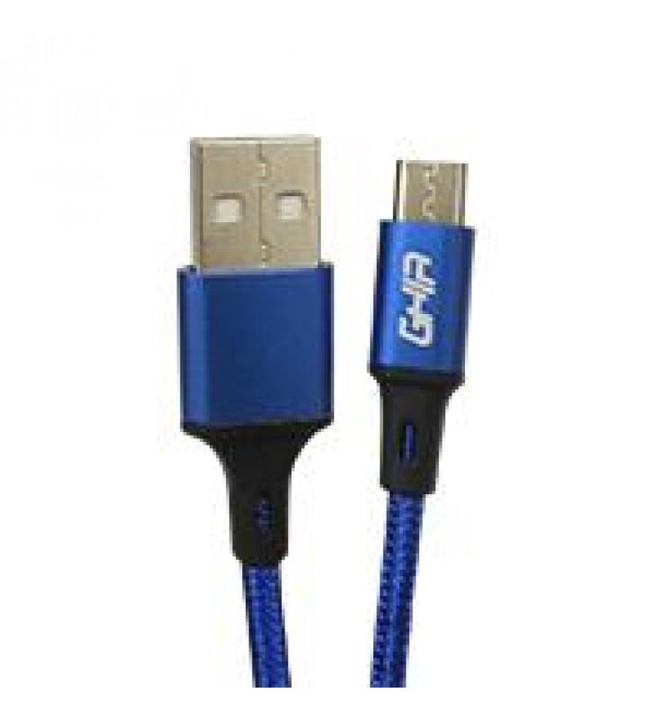 CABLE MICRO USB GHIA NYLON COLOR AZUL DE 1M