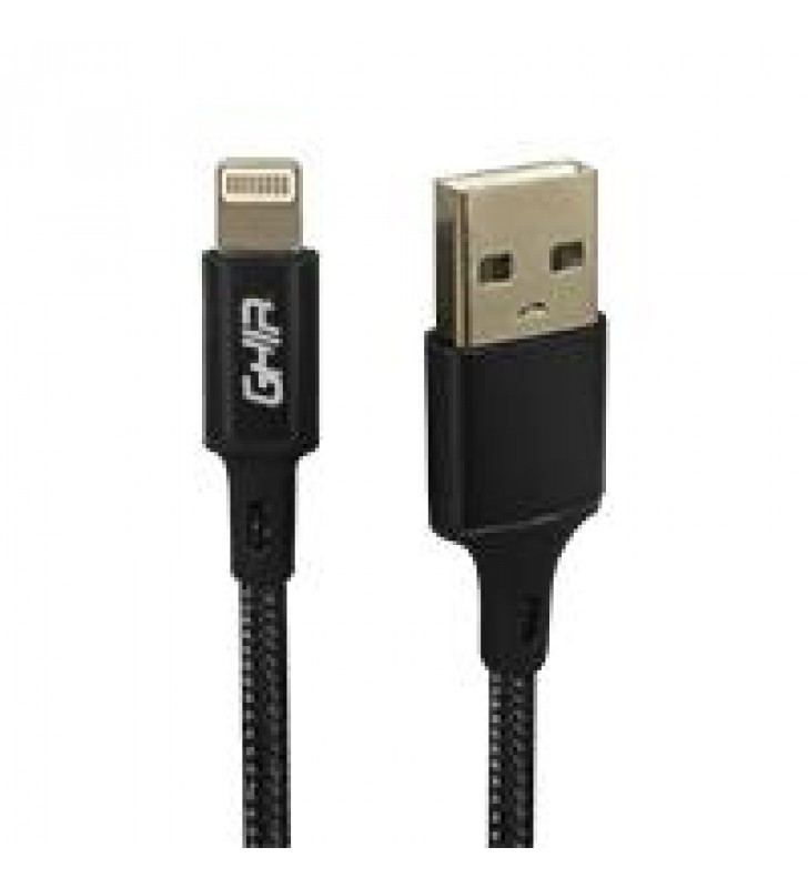 CABLE TIPO LIGHTNING GHIA 1M NYLON COLOR NEGRO