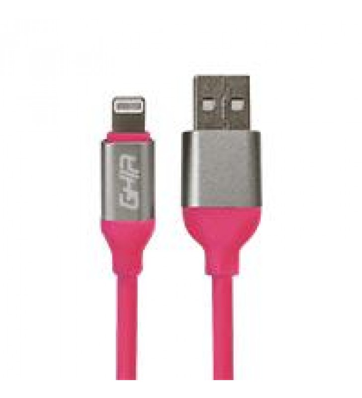 CABLE TIPO LIGHTNING GHIA 1M COLOR ROSA