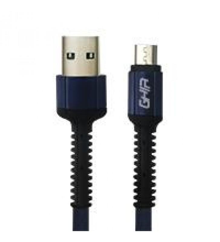 CABLE MICRO USB GHIA NYLON 1M COLOR AZUL