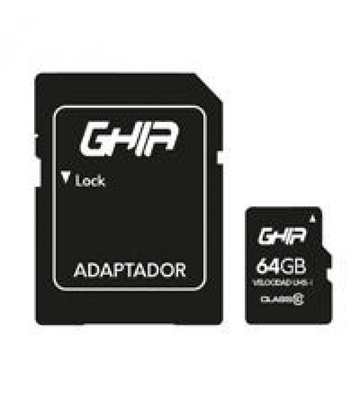 MEMORIA GHIA 64GB TIPO MICRO SD CLASE 10 CON ADAPTADOR