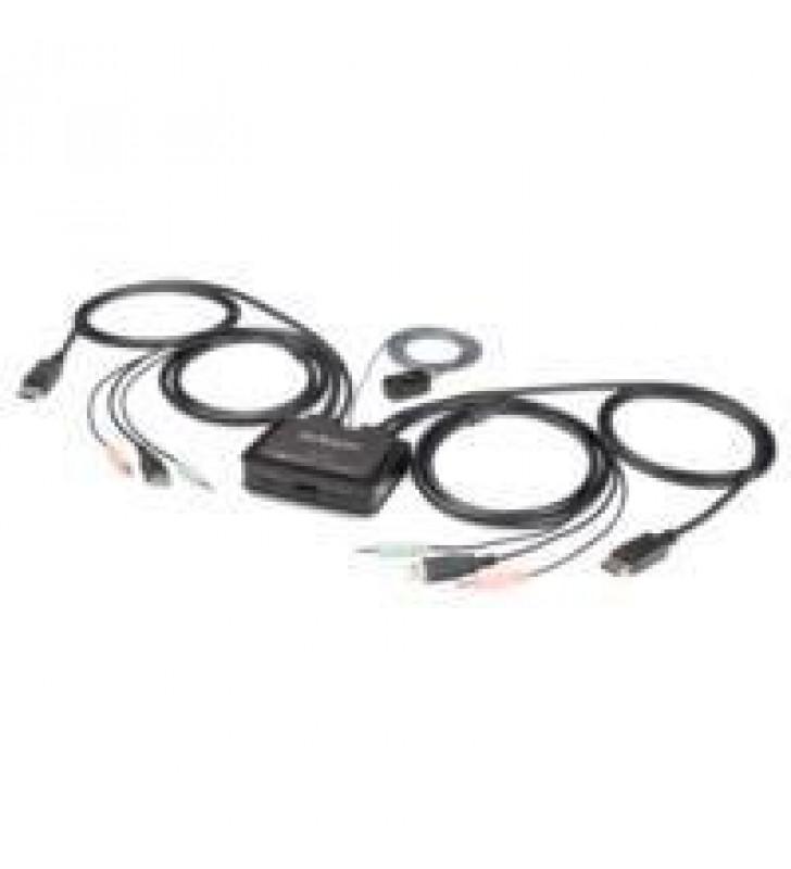 SWITCH CONMUTADOR KVM DE 2 PUERTOS DISPLAYPORT USB CON CABLES INTEGRADOS DE 1.5M - 4K60HZ - AUDIO DE