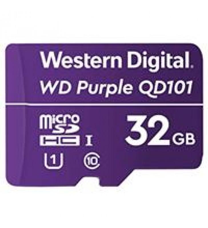 MEMORIA WD 32GB MICRO SDHC PURPLE SC QD101 VIDEOVIGILANCIA 24/7 CLASE 10 U1 LECT 50MB/S ESC 40MB/S