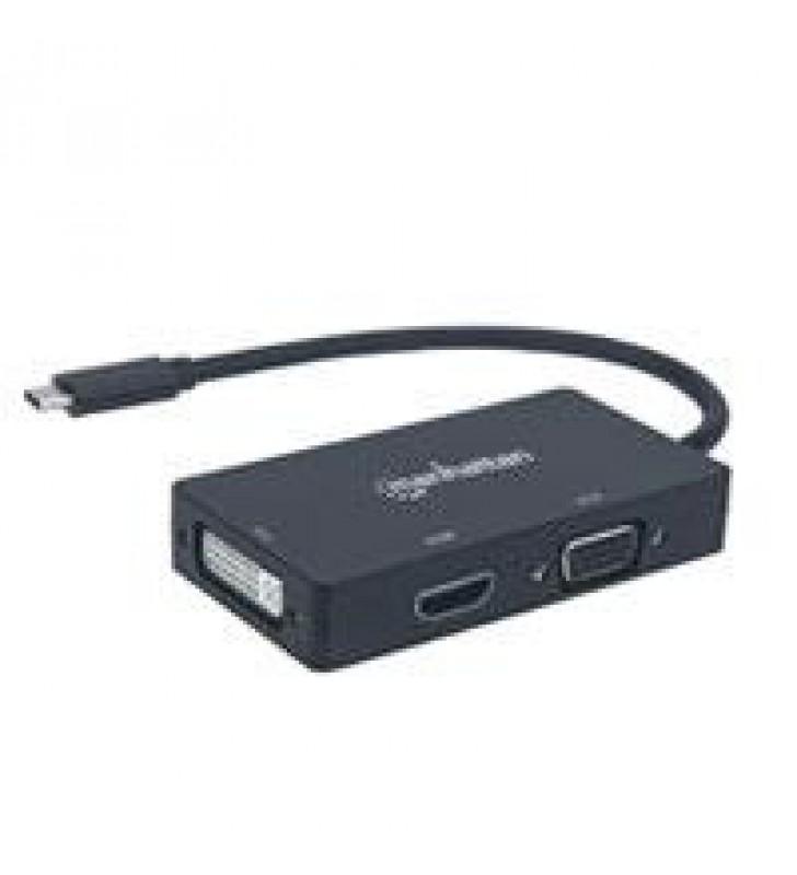 CONVERTIDOR DE USB-C A CONECTORES HEMBRA DVI HDMI O VGA.