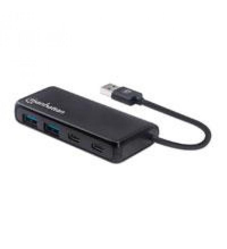 HUB USB-A 3.2 MACHO A DOS PUERTOS USB-A HEMBRA Y DOS PUERTOS USB-C HEMBRA VELOCIDADES DE TRANSFERENC