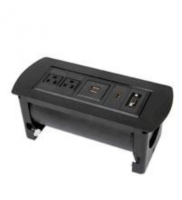 CAJA DE CONEXIoN PARA MESA DOS TOMAS DE CORRIENTE DOS PUERTOS DE CARGA USB-A UNA CONEXIoN HDMI UNA C