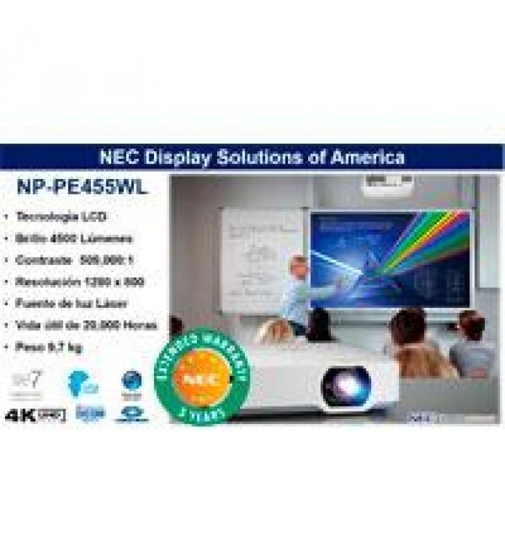 VIDEOPROYECTOR LASER NEC NP-PE455WL LCD 4500 LUMENES WXGA 16:10 CONT 500000:1 HDMI (HDCP) ZOOM 1.6X