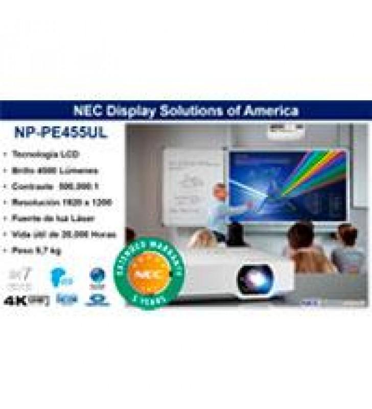 VIDEOPROYECTOR LASER NEC NP-PE455UL LCD 4500 LUMENES WUXGA 16:10 CONT 500000:1 HDMI (HDCP) ZOOM 1.6X