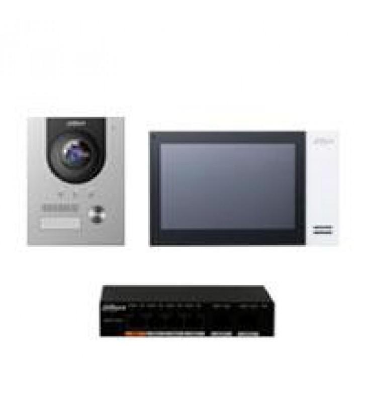 KIT DE VIDEOPORTERO IP DAHUA FRENTE DE CALLE MONITOR Y SWITCH POE/ PANTALLA LCD TOUCH DE 7/ CAMARA