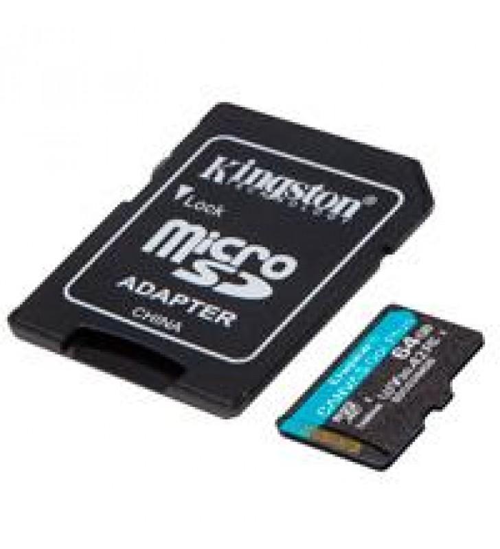 MEMORIA KINGSTON MICRO SDXC CANVAS GO PLUS 64GB UHS-I U3 V30 A2 CLASE 10 C/ADAPTADOR