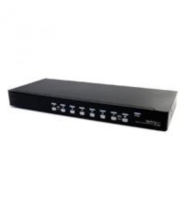CONMUTADOR SWITCH KVM 8 PUERTOS DE VIDEO VGA HD15 USB 2.0 USB A Y AUDIO - 1U RACK ESTANTE - STARTECH