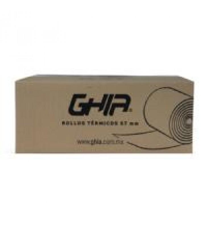 CAJA ROLLO PAPEL TERMICO GHIA 57X40 MM /50 PIEZAS /PARA IMPRESORAS DE 58MM // REACCION NEGRO