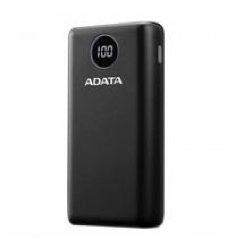 BATERIA DE RESPALDO POWER BANK ADATA P20000QCD 20000MAH/2 USB A/ 1 USB C/INDICADOR DE CARGA DIGITAL/