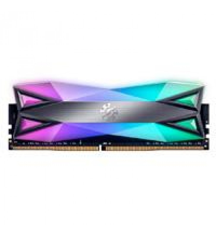 MEMORIA ADATA UDIMM DDR4 8GB PC4-28800 3600MHZ CL18 1.35V XPG SPECTRIX D60G RGB GRIS CON DISIPADOR P