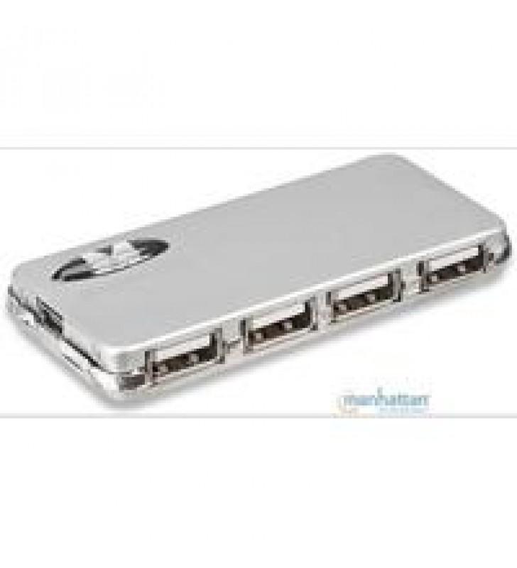 HUB USB V2.0 MANHATTAN 4 PUERTOS CON FUENTE ALIMENTACION EXTERNA