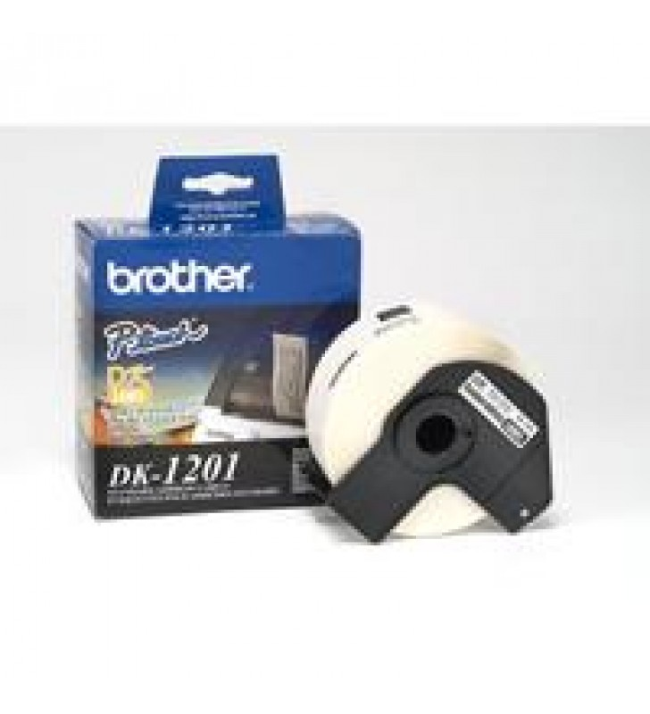 ETIQUETA PRECORTADA BROTHER DK1201 BLANCO 400 ETIQUETAS 29 X 90.3 MM COMPATIBLE CON QLS