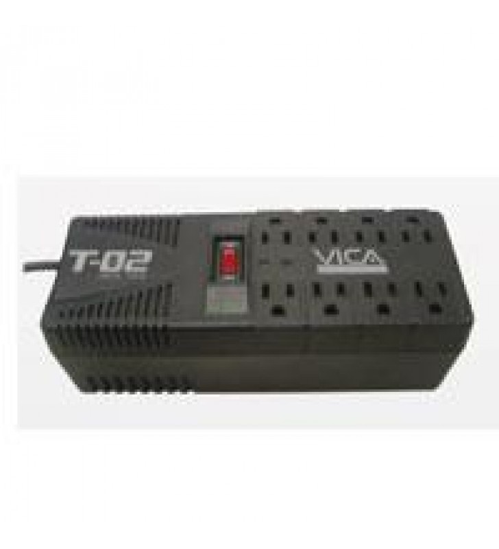 REGULADOR VICA T-02 DE 1200VA/700W 8 CONTACTOS PROTECTOR DE LINEA TELEFONICA GARANTIA 5 ANOS