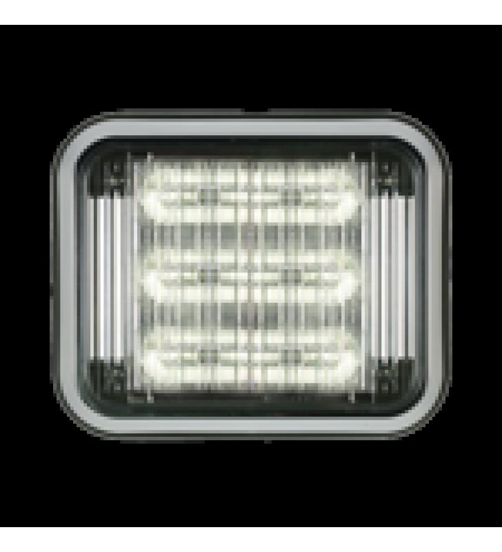 LUZ PERIMETRAL LED PRIZM  II DE 7X9 CON BISEL, LENTE DE COLOR Y REF 8, AMBAR