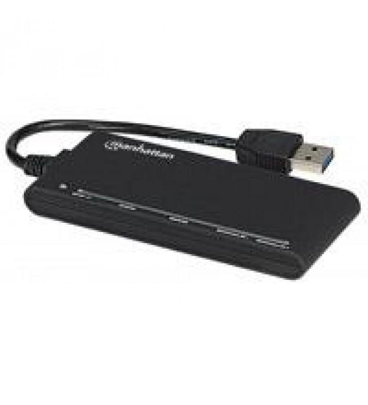 LECTOR Y GRABADOR EXTERNO DE TARJETAS MANHATTAN USB 3.0 DE ALTA VELOCIDAD 62 EN 1 COLOR NEGO