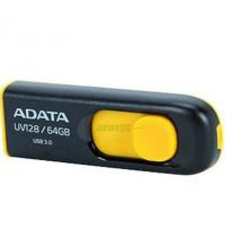 MEMORIA ADATA 64GB USB 3.2 UV128 RETRACTIL NEGRO-AMARILLO