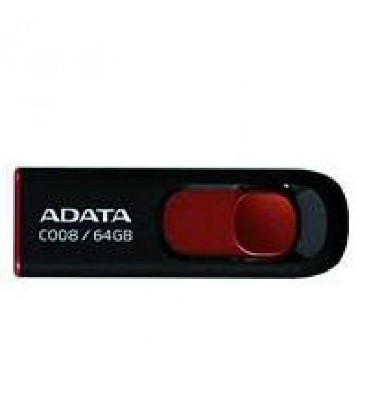 MEMORIA ADATA 64GB USB 2.0 C008 RETRACTIL NEGRO-ROJO