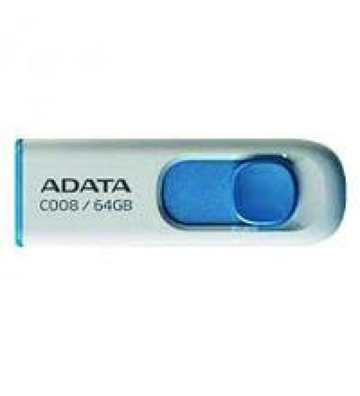 MEMORIA ADATA 64GB USB 2.0 C008 RETRACTIL BLANCO-AZUL