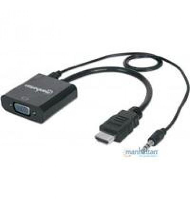 CABLE CONVERTIDOR MANHATTAN HDMI A VGA + AUDIO 3.5MM 1080P M-H