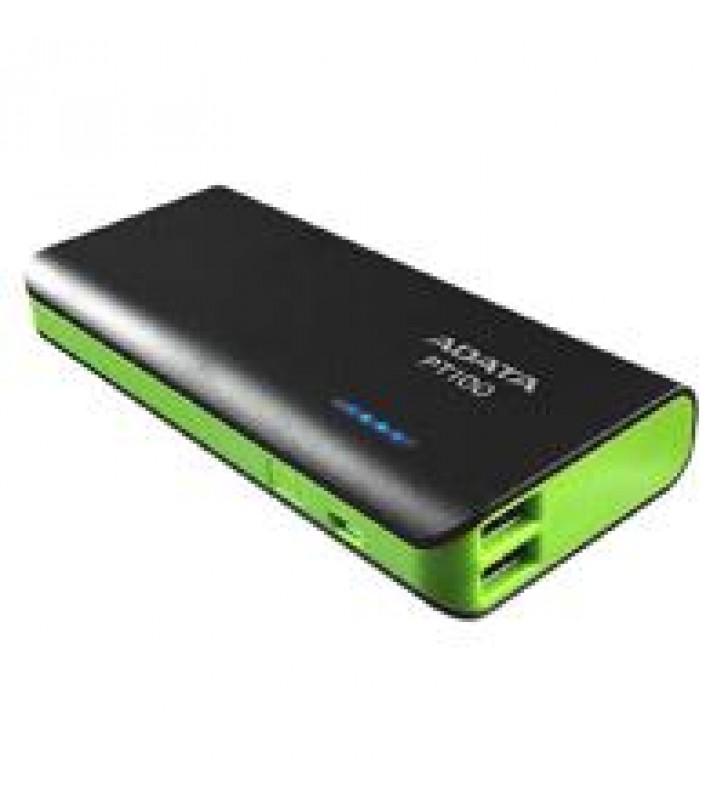 BATERIA DE RESPALDO POWER BANK ADATA PT100 10000MAH/LINTERNA/2 USB 1A/2A/INDICADOR DE CARGA/NEGRO