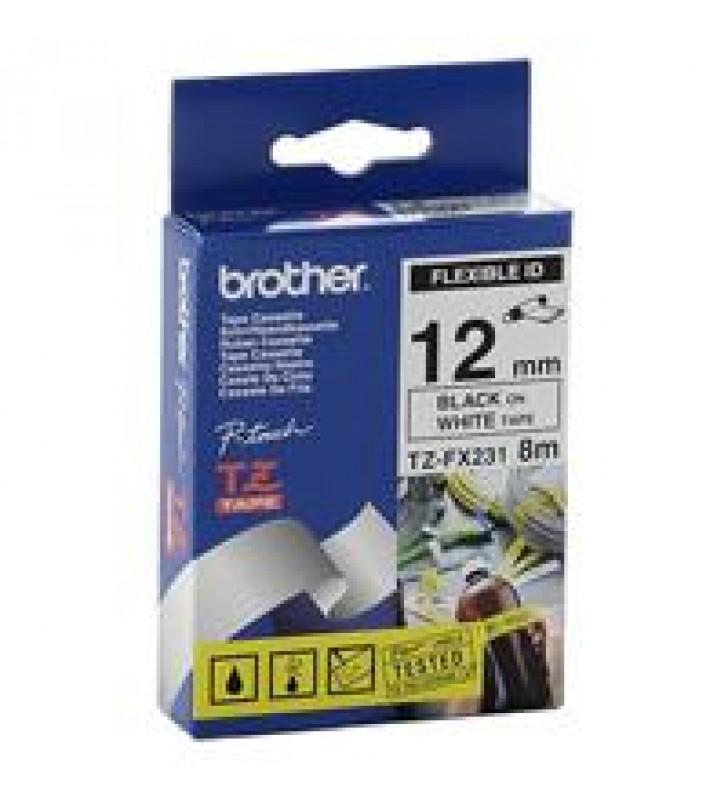 CINTA BROTHER TZEFX231 FLEXIBLE NEGRO SOBRE BLANCO DE 12MM