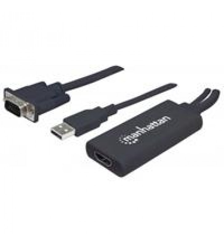 CONVERTIDOR MANHATTAN VGA A HDMI + AUDIO Y AC VIA USB