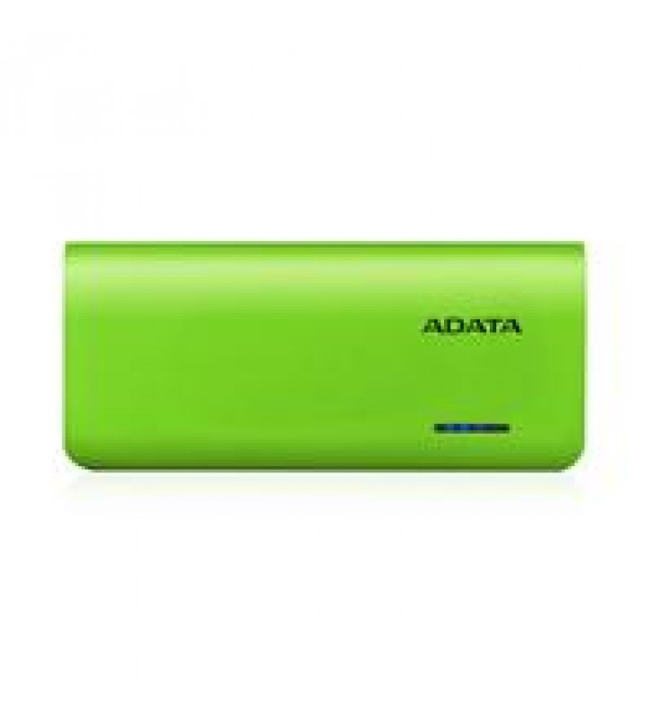 BATERIA DE RESPALDO POWER BANK ADATA PT100 10000MAH/LINTERNA/2 USB 1A/2A/INDICADOR DE CARGA/VERDE