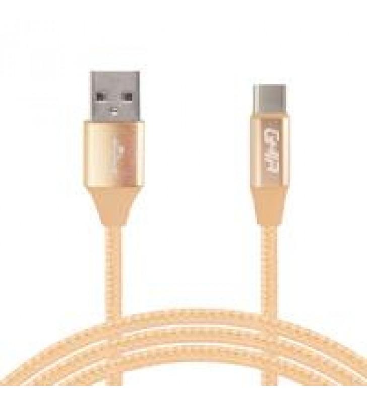 CABLE TIPO C GHIA 1.0 MTS USB 2.1 CARGADOR Y TRANSFERENCIA DE DATOS DORADO