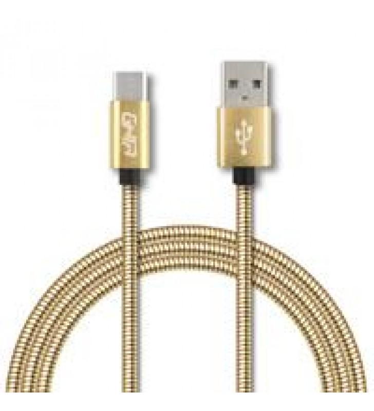 CABLE TIPO C FORRO METALICO GHIA 1.0 MTS USB 2.1 CARGADOR Y TRANSFERENCIA DE DATOS DORADO