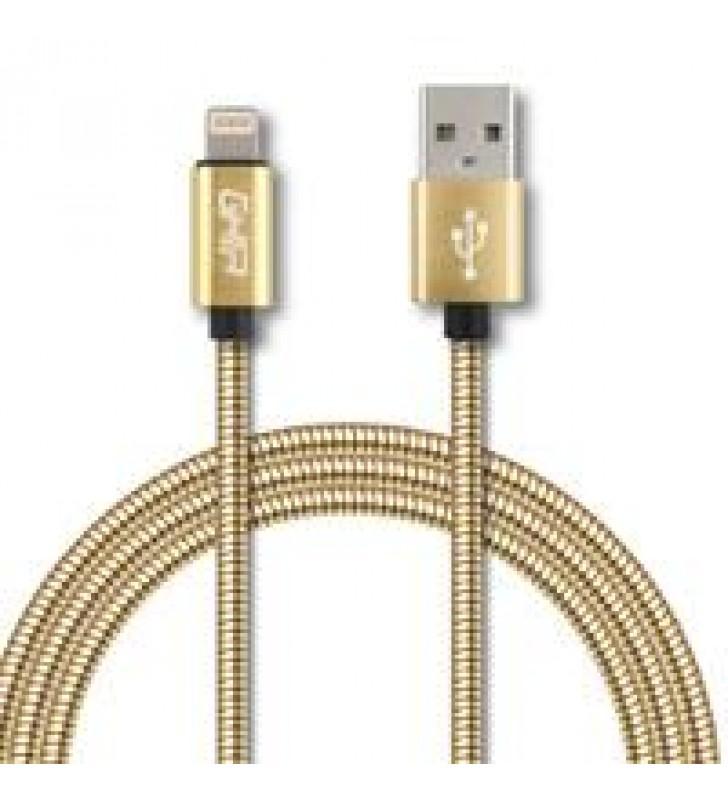 CABLE METALICO GHIA TIPO LIGHTNING 1.0 MTS USB 2.1 DORADO